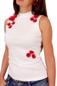Top alb cu maci rosii 3D Poppy Love