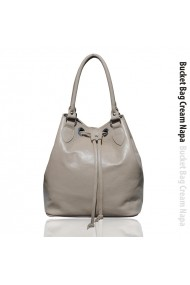 Geanta MCLeather Bucket Bag Crem