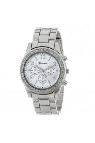 Ceas pentru Geneva CS1185 bratara metalica stil elegant cadran cu cristale argintiu