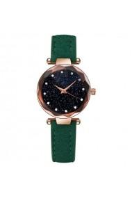Ceas de dama Geneva CS1010 Starry Sky curea piele Verde