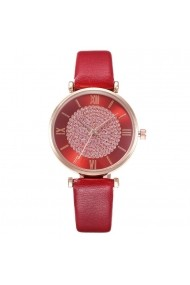Ceas pentru dama Geneva CS1086 curea piele Rosu