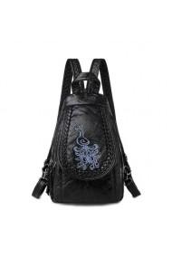 Rucsac E-LY GT369 negru cu imprimeu albastru