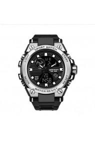 Ceas barbati Sanda Watch CS1192 curea silicon cadran argintiu stil sport