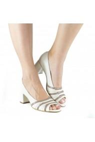 Pantofi casual cu toc masiv Donna Mia Crem