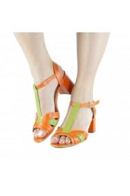 Sandale cu toc masiv Donna Mia Portocaliu