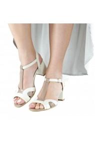 Sandale cu toc masiv Donna Mia Crem