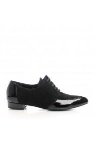 Pantofi Oxford style Veronesse din piele naturala camoscio si lac cu hasuri Negru