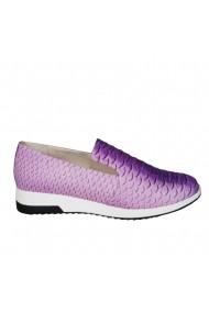 Pantofi sport casual Veronesse Diana Natte din piele naturala presaj sarpe Roz