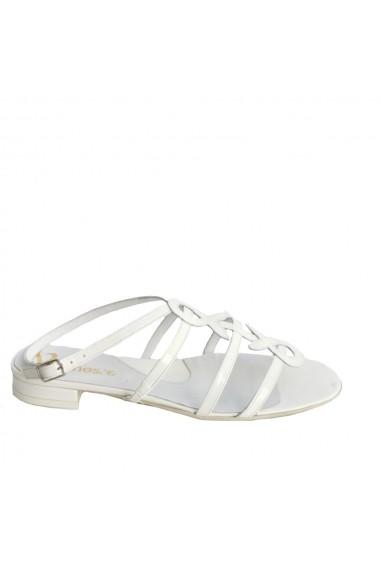 Sandale din piele naturala Veronesse alb lac
