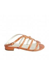 Sandale din piele naturala Veronesse portocaliu lac cu toc mic