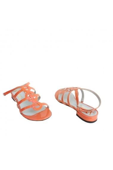 Sandale fara toc VERONESSE din piele naturala, Portocaliu