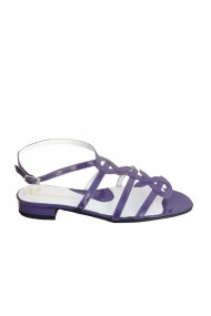 Sandale din piele naturala Veronesse mov lac cu toc jos