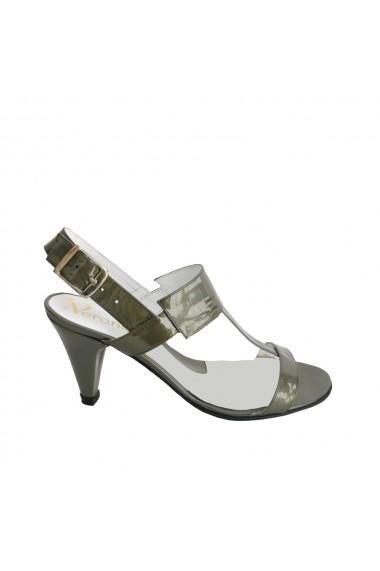 Sandale Veroness gri kaki din piele naturala lacuita
