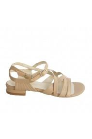 Sandale fara toc din piele naturala Veronesse bej cu 2 catarame