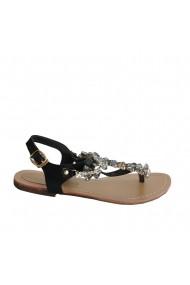 Sandale plate Veronesse cu flori din cristale negru