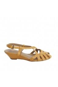 Sandale plate Veronesse piele naturala camel