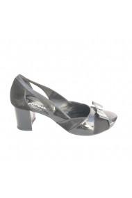 Pantofi din piele naturala Veronesse cu decupaje si funda toc 5 cm Negri