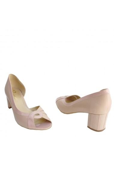 Sandale cu toc Veroness din piele naturala toc 5 cm Nude