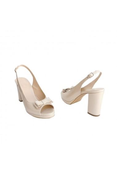 Sandale cu tocc din piele naturala Veronesse cu funda Nude