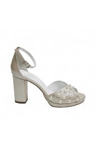 Sandale cu toc din piele naturala Veronesse Crown cu aplicatii de cristale Swarovski si perle