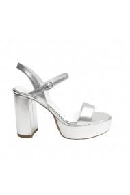 Sandale cu toc Veronesse Mira din piele naturala cu platforma de 3 cm Argintii
