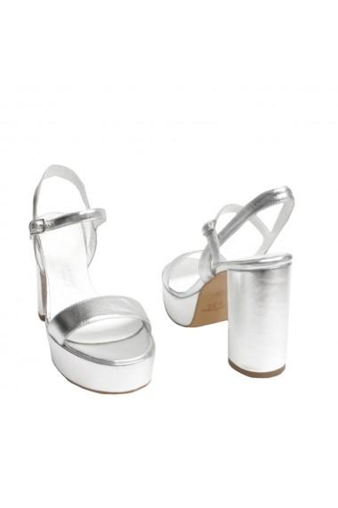 Sandale cu toc VERONESSE din piele naturala, Argintii