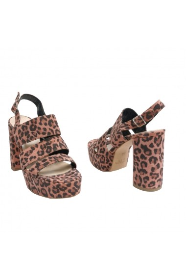 Sandale cu toc cu 3 barete Veronese Mirabel din piele naturala animal print