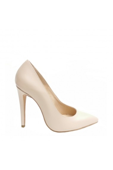 Pantofi cu toc Veronesse din piele naturala Nude