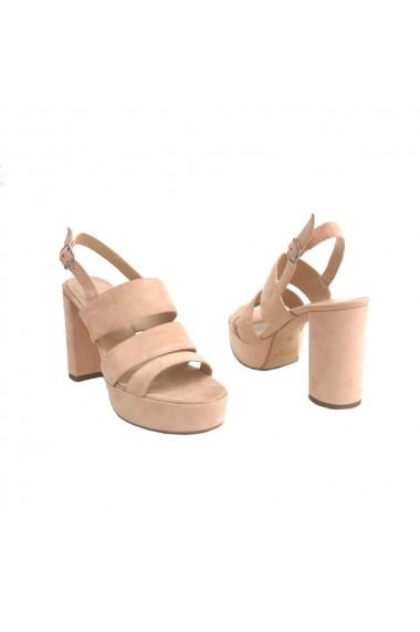 Sandale cu toc si 3 barete Veronesse Mirabel din piele naturala Nude