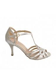 Sandale cu toc Veronesse din piele naturala Aurii