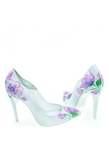 Pantofi cu toc Veronesse din piele naturala pictati manual