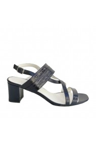 Sandale cu toc si barete din piele naturala lacuita Veronesse bleumarin sidef cu toc patrat 6 cm