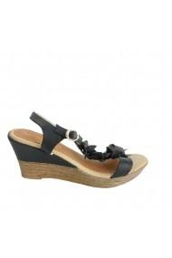 Sandale cu toc Veronesse talpa ortopedica negru