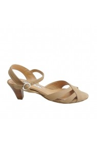 Sandale cu toc Veronesse piele naturala nude