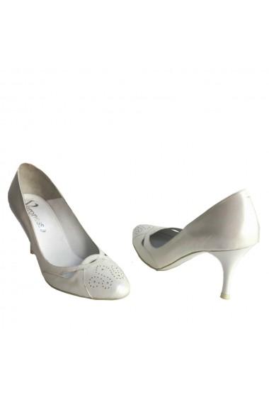 Pantofi cu toc Veronesse piele naturala alb
