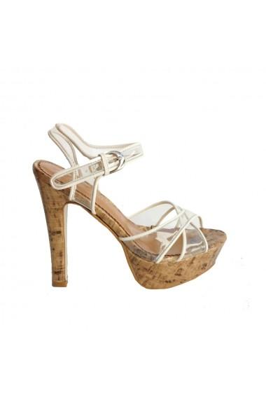 Sandale cu toc Veronesse material transparent alb