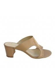 Sandale cu toc Veronesse piele naturala bej
