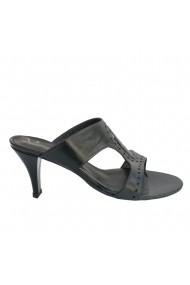Sandale cu toc Veronesse piele naturala negru