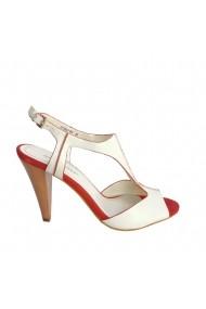 Sandale cu toc Veronesse piele naturala alb