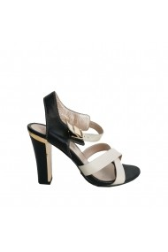 Sandale cu toc Veronesse piele naturala bej - negru