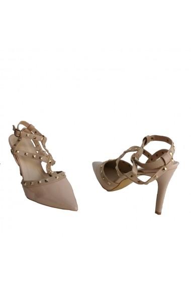 Pantofi cu toc Veronesse cu tinte nude