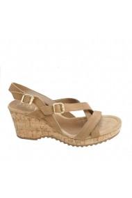 Sandale cu toc Veronesse piele naturala si talpa ortopedica maron