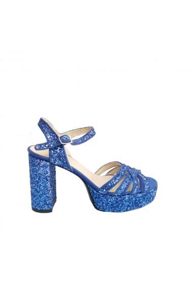 Sandale cu toc Veronesse piele naturala si glitter albastru