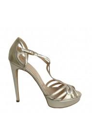 Sandale cu toc Veronesse piele naturala auriu