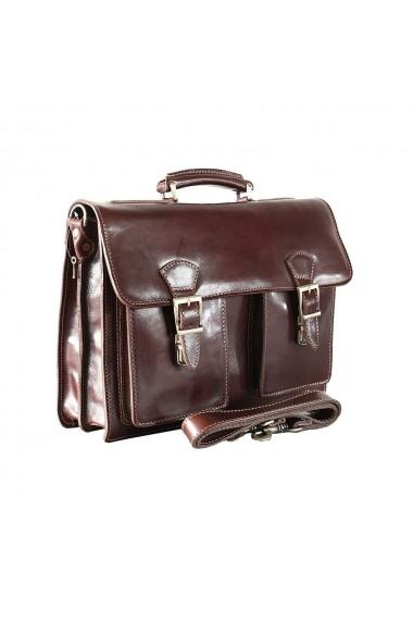 Servieta barbati pentru laptop si acte , din piele naturala, coniac, S151A