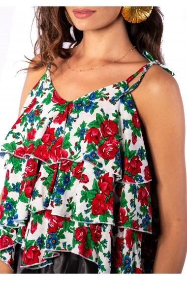 Top Carolina D MOJITO cu volane asimetrice Print Floral