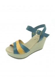 Sandale Condesa din piele naturala si platforma Albastre