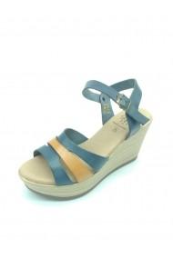Sandale Laguna din piele naturala si platforma Albastre