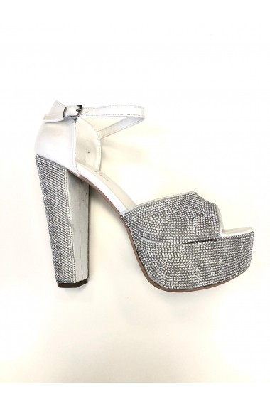 Sandale cu platforma si cristale Moda Aliss SD001 Alb