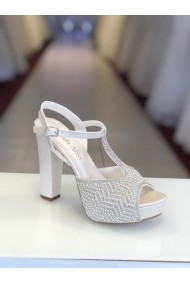 Sandale cu platforma si cristale Moda Aliss SD003 Alb